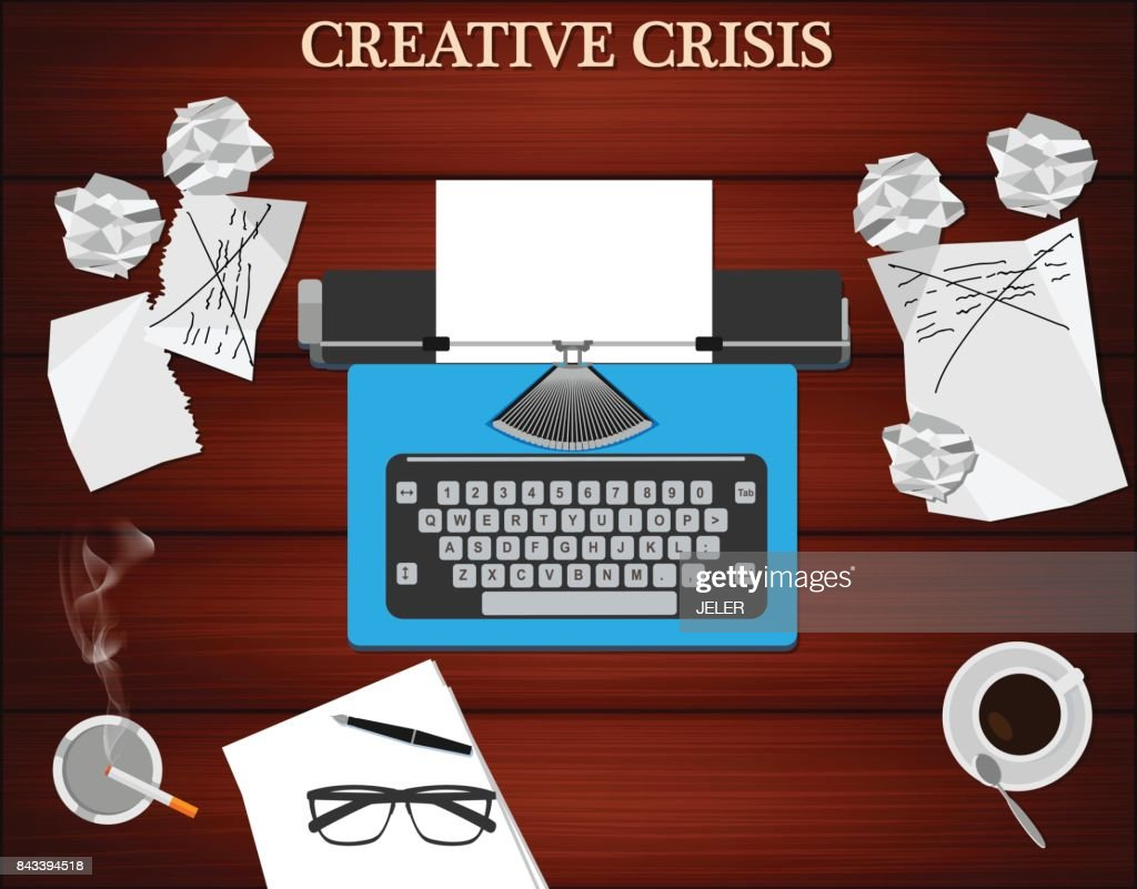 Creative crisis concept. Top view of writer's workplace