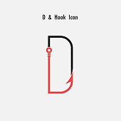 Creative D- Letter icon abstract and hook icon design vector template.Fishing hook icon.Alphabet icon.Vector illustration