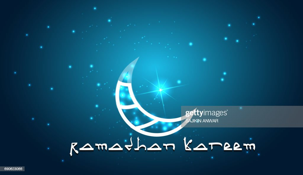 Creative design crescent moon on glowing background