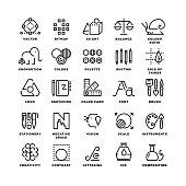 Creative design process linear vector icons for web app