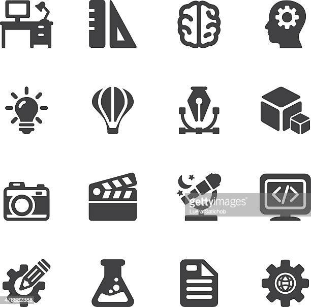 kreative designer-silhouette icons/eps10 - film and television screening stock-grafiken, -clipart, -cartoons und -symbole