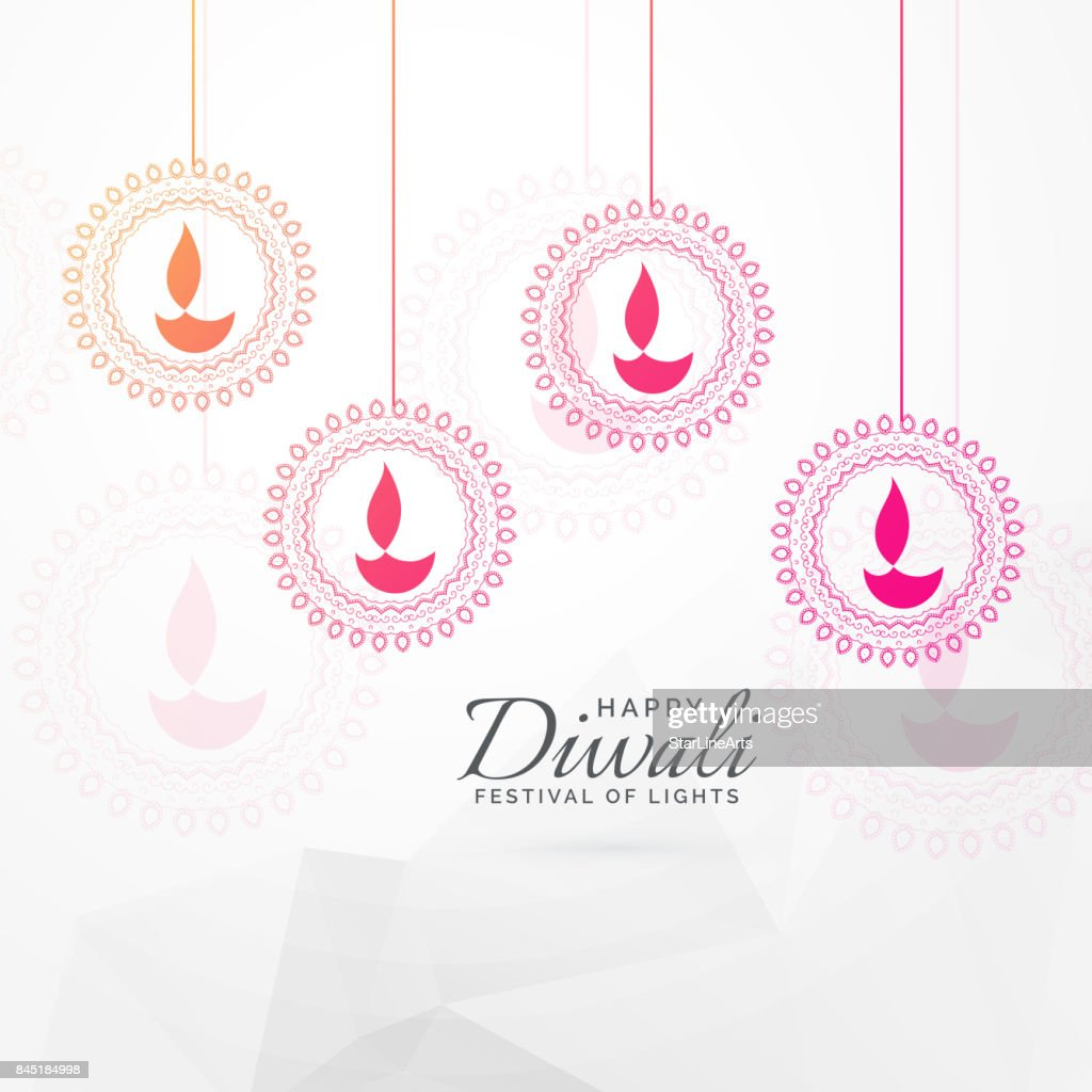 Creative Diwali Festival Greeting Card Design With Hanging Diya