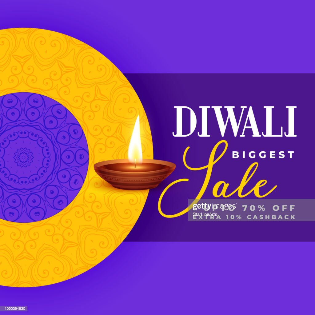 creative diwali sale banner design in purple theme
