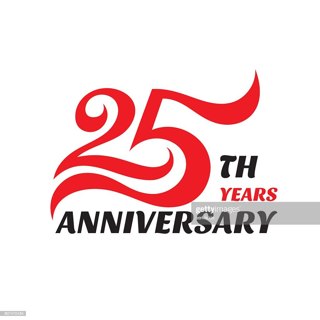 Creative emblem 25-th years anniversary. Concept sign.