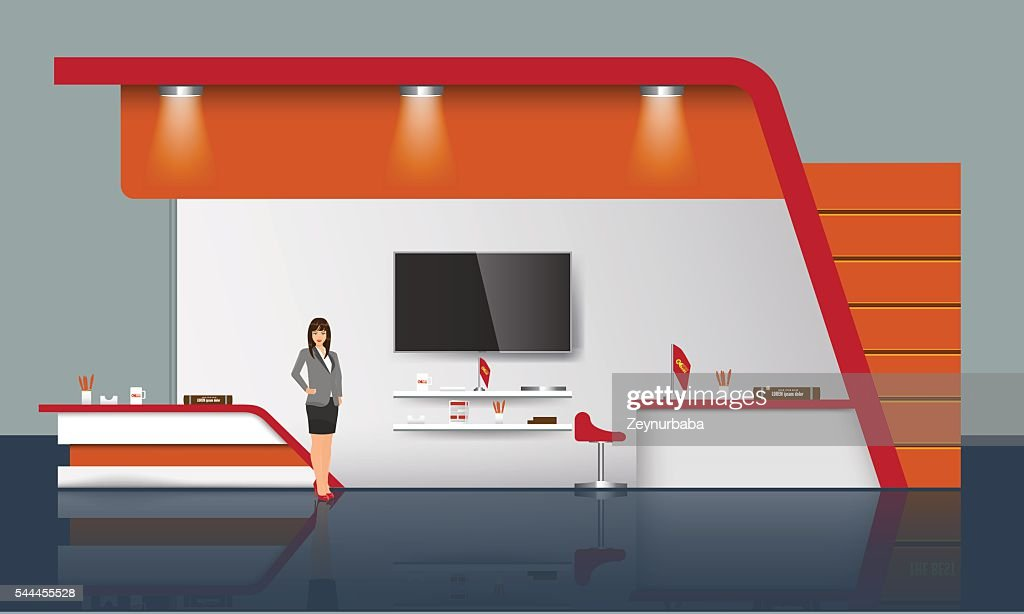 Creative exhibition stand design. Trade Booth template. Corporate identity vector