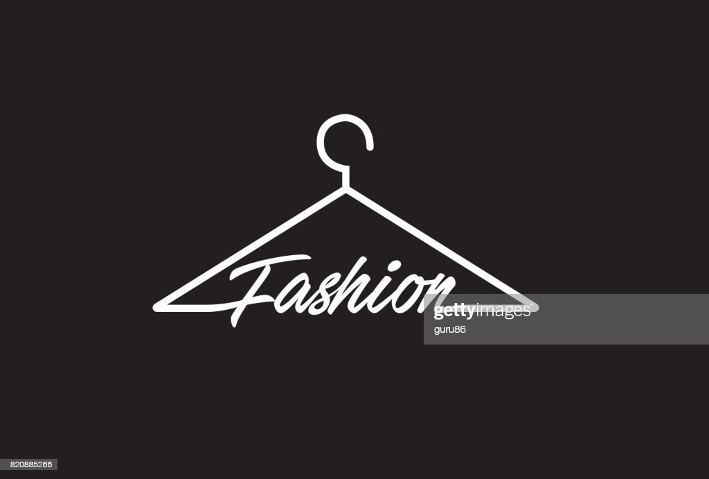 Creative Fashion Letter Text On Coathanger Design Symbol