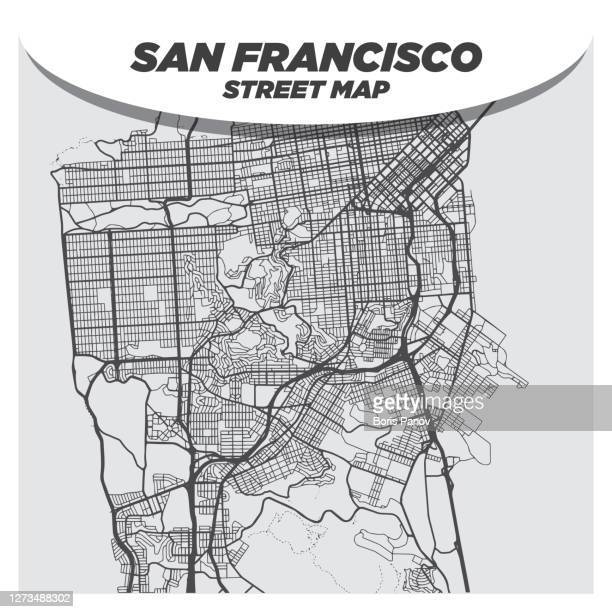 creative flat map of san francisco, california with black streets and white background - san francisco california stock illustrations