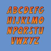 Creative font. Vector alphabet collection set in the style of comics and pop art.