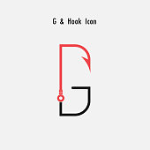 Creative G- Letter icon abstract and hook icon design vector template.Fishing hook icon.Alphabet icon.Vector illustration