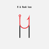 Creative H- Letter icon abstract and hook icon design vector template.Fishing hook icon.Alphabet icon.Vector illustration