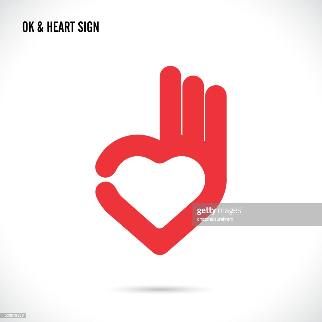 Creative hand and heart shape abstract icon design.Hand Ok symbol icon