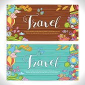Creative hand-drawn doodle art with summer travel theme