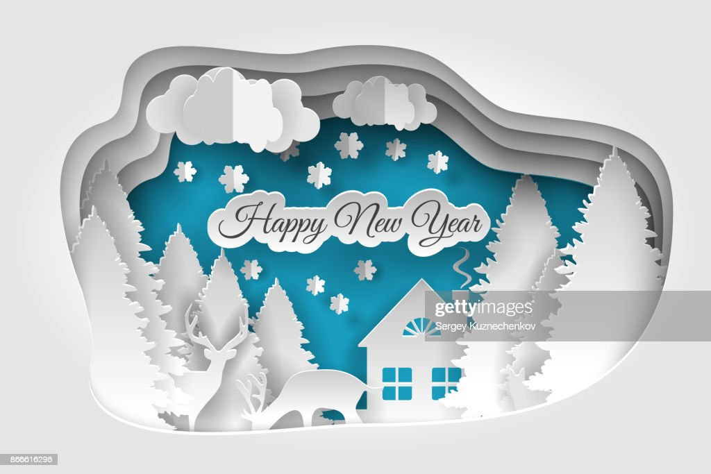 Creative happy new year 2018 design. Happy new year and Merry christmas,paper art and craft style.