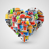 Creative heart sign made of shopping items. Vector