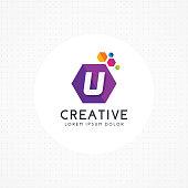 Creative hexagonal letter U symbol