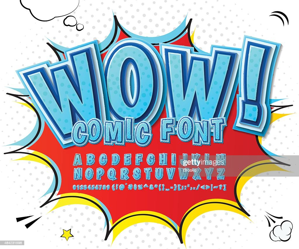 Creative high detail blue comic font. Alphabet, comics, pop art