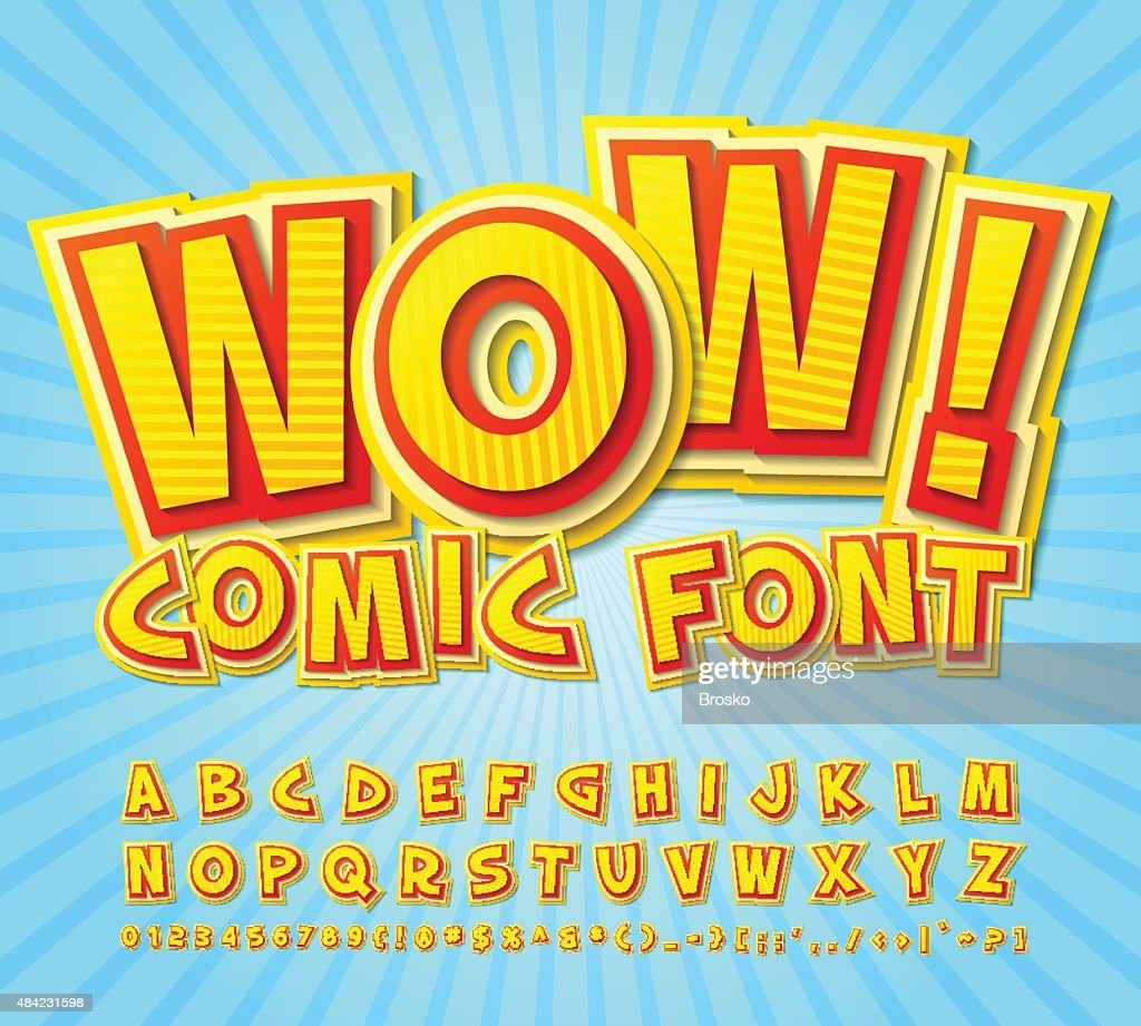 Creative high detail yellow-red comic font. Alphabe, comics, pop