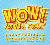 Creative high detail yellow-red comic font. Alphabe, comics, pop