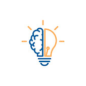 Creative icon of a half brain half lightbulb representing ideas, creativity, knowledge, technology and the human mind. Solving problems concept thin line illustration