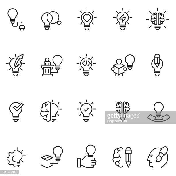 stockillustraties, clipart, cartoons en iconen met creatieve pictogrammen - idee