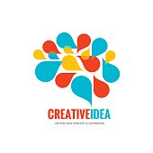 Creative idea - business vector logo template concept illustration. Abstract human brain creative sign.