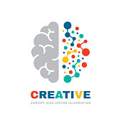 Creative idea - business vector sign concept illustration. Abstract human brain sign. Geometric colored structure. Mind education symbol. Left and right hemisphere. Graphic design element.