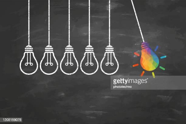 kreative ideenkonzepte mit glühbirne auf blackboard-hintergrund - verbesserung stock-grafiken, -clipart, -cartoons und -symbole