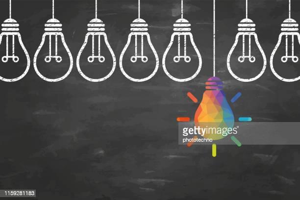illustrazioni stock, clip art, cartoni animati e icone di tendenza di concetti di idea creativa con lampadina su sfondo lavagna - proprietà intellettuale