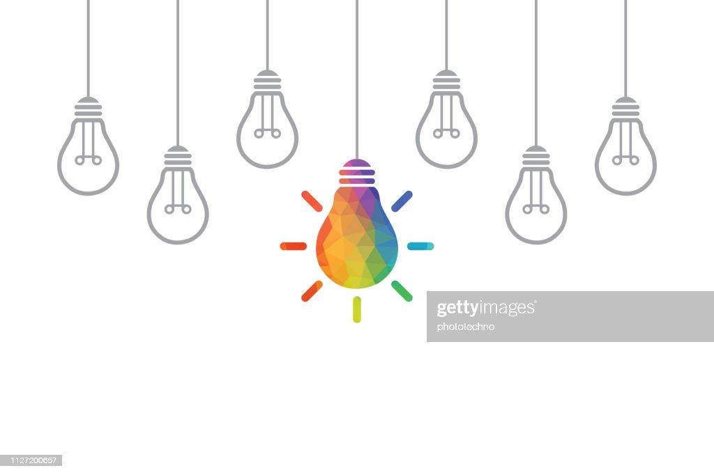 電球と創造的なアイデアの概念 : ストックイラストレーション