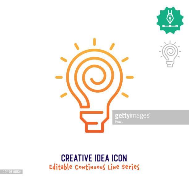creative idea continuous line editable icon - unternehmer stock-grafiken, -clipart, -cartoons und -symbole