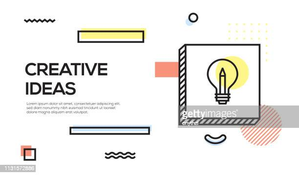creative ideas concept. geometric retro style banner and poster concept with creative ideas icon - wisdom stock illustrations, clip art, cartoons, & icons