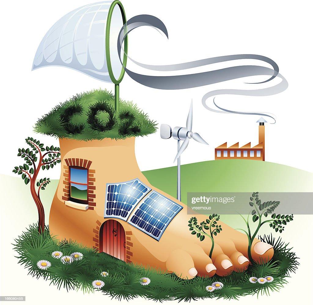 Creative illustration of carbon footprint representation
