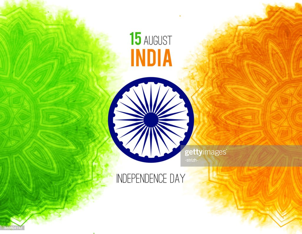 Creative Indian Independence Day concept with ashoka wheel and pattern