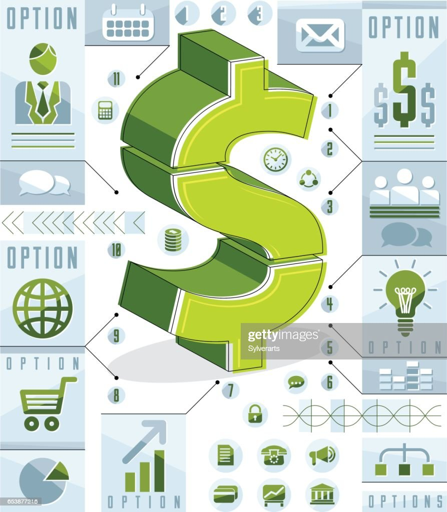Creative Infographics Elements Composition Layered Dollar Sign Idea ...