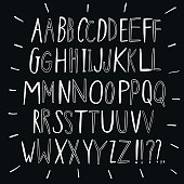 Creative ink style brush vector  letters set