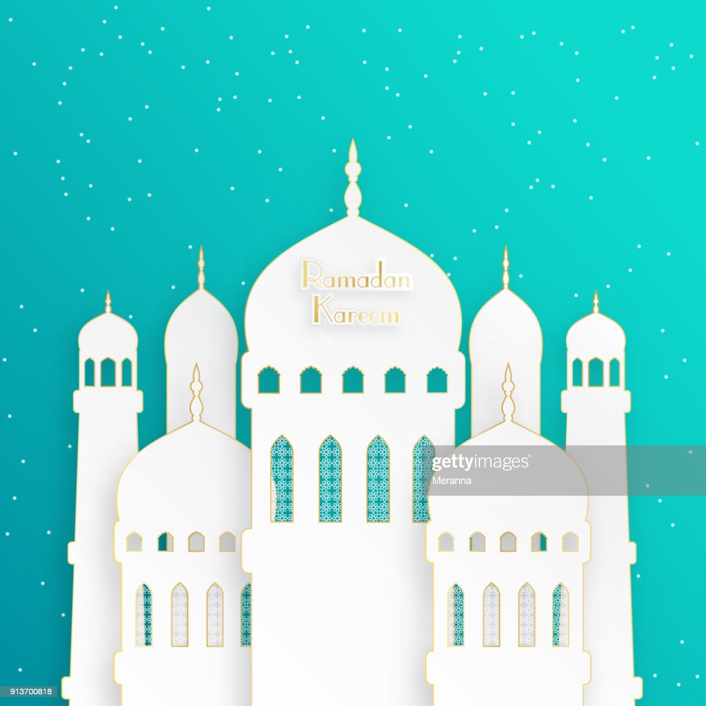 Creative islamic mosque made by paper cutout