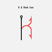 Creative K- Letter icon abstract and hook icon design vector template.Fishing hook icon.Alphabet icon