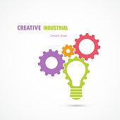 Creative light bulb and gear abstract vector design