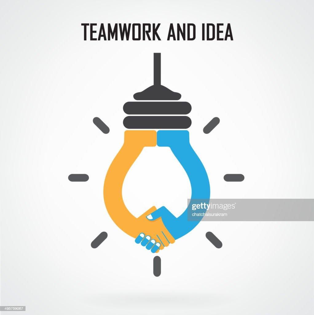 Creative light bulb Idea and handshake sign