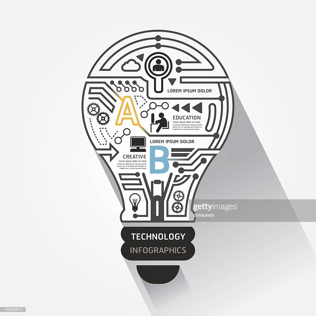 Creative lightbulb abstract circuit technology infographic