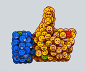 Creative Like icon made of many small smiles. Social network concept.