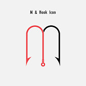 Creative M- Letter icon abstract and hook icon design vector template.Fishing hook icon.Alphabet icon