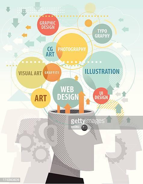 ilustrações, clipart, desenhos animados e ícones de criatividade mente - portfolio