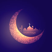 creative moon and glowing mosque design
