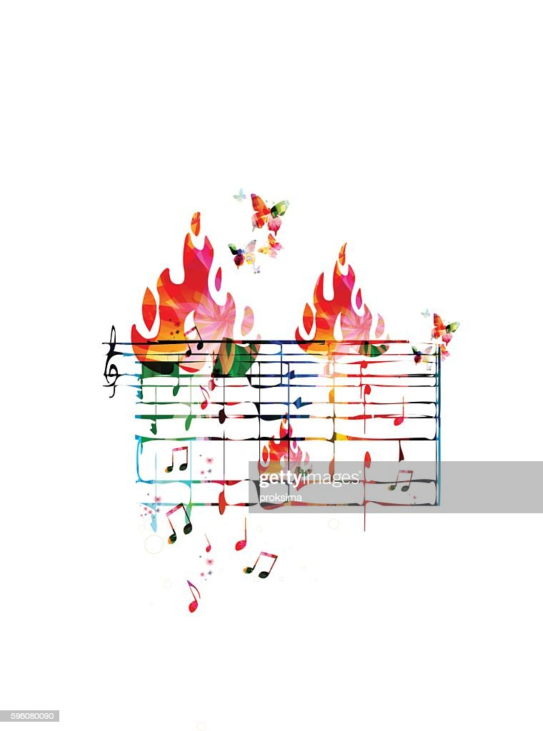 Creative music concept vector illustration, colorful music stave with notes