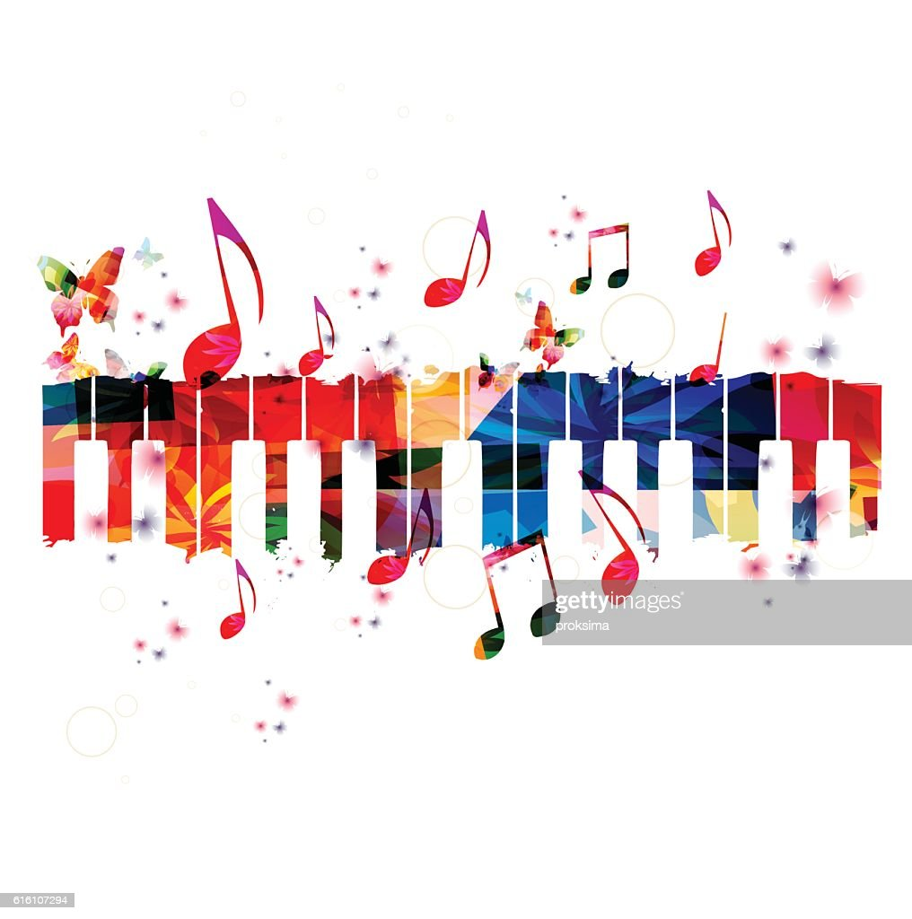 Creative music style template vector illustration, colorful piano keys