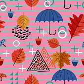 creative of autumn seamless pattern with umbrella, maple leaves, oak, and geometric trendy vector illustration. Wrapping, textile print, and fashion eps 10.