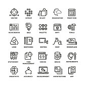 Creative process and tools line icons set