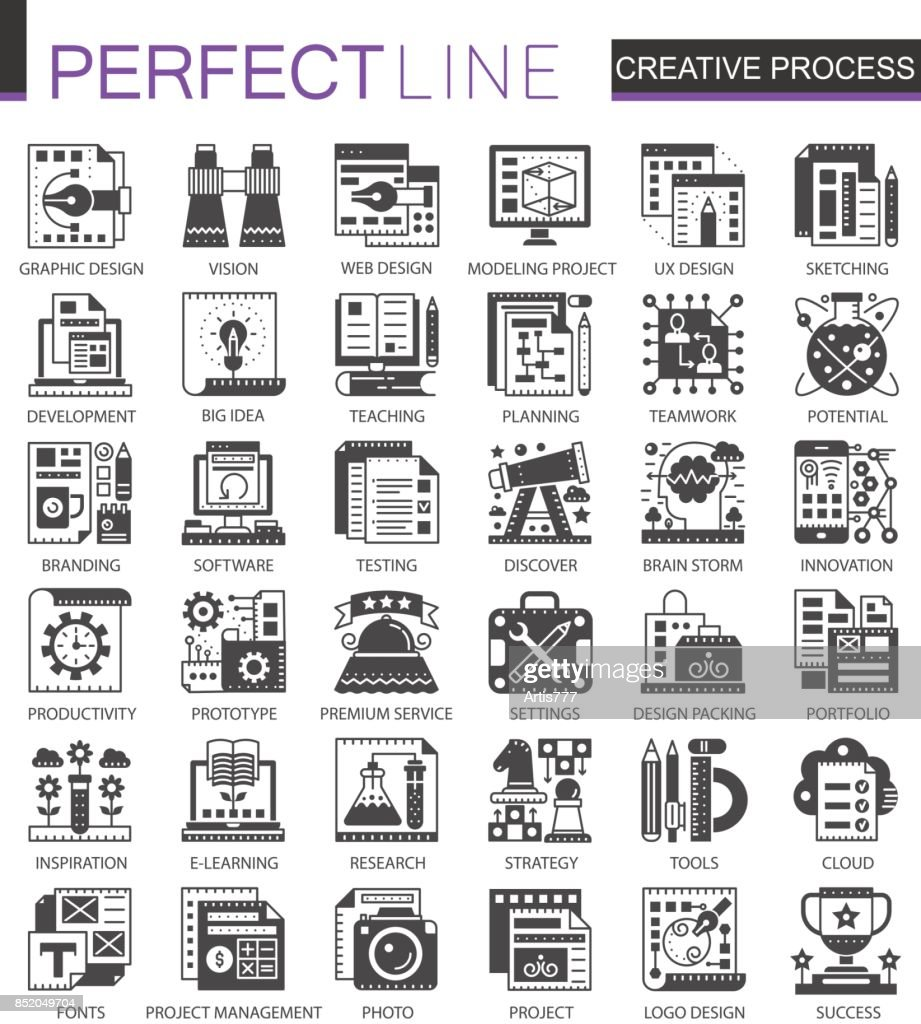 Creative process classic black mini concept symbols. Modern icon pictogram vector illustrations set.