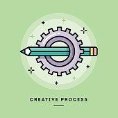 Creative process, flat design thin line banner